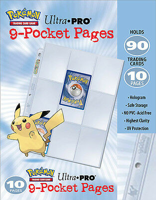 10 x 9 pocket pages w/ embossed pikachu Pokemon Card Storage Sleeves for Folders