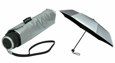 Compact Umbrella with Wind Resistant & UV Sun Protection Umbrella Silver Canopy