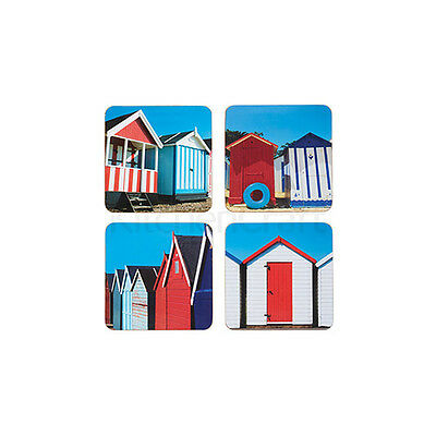 Kitchen Craft Beach Hut Cork Back Laminated Set of 4 Coasters