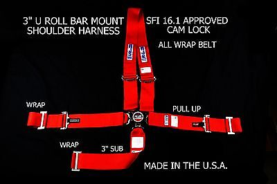Rjs Sfi 16.1 5Pt Cam Lock Dragster Belt U Mount Wrap In Pull Up Red 1059104
