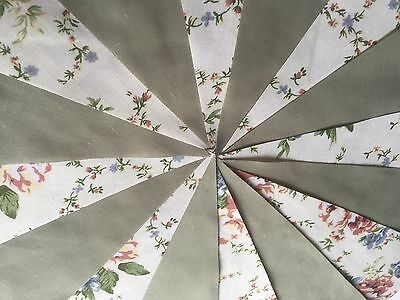 BEAUTIFUL SAGE GREEN AND FLORAL FABRIC BUNTING.Shabby vintage,weddings,parties