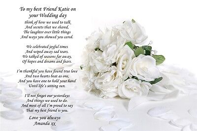 A4 POEM TO Your Daughter On Her Wedding Day From Parents Or
