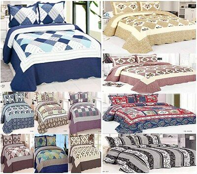 3 Pieces PatchWork Bedspread  Double, King Quilted Bed Spread 100% Cotton