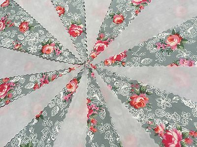 BEAUTIFUL PALE GREY AND FLORAL FABRIC BUNTING.Shabby vintage,weddings,parties