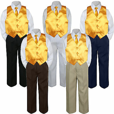 4pc Yellow Vest & Tie  Suit Set Baby Boy Toddler Kid Uniform S-7