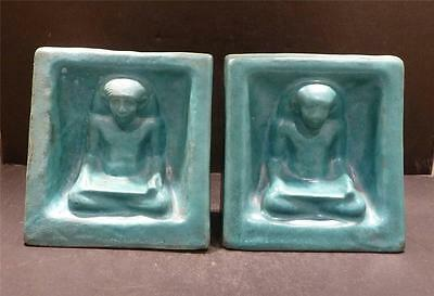 Marblehead (Attributed to)  Blue Egyptian Bookends