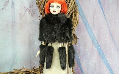 ~Black Genuine Mink Fur Capelet w/ Tails for Evangeline Ghastly doll~by dimitha~