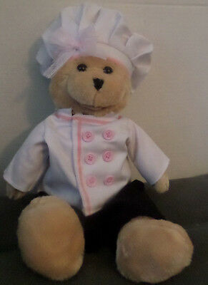 Lady Chef Bear Plush Pink Accents on Chef Uniform Mouth Moves, Sings Thats Amore