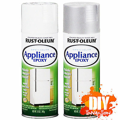 Rust-Oleum Appliance Epoxy Spray Paint White & Stainless Steel Fridge Freezer