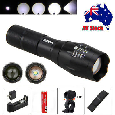 Tactical 5000Lm XM-T6 LED Flashlight Torch Gun Mount Hunting Light 18650+Charger