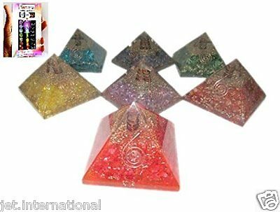 Exquisite A++ 7 Chakra Orgone Pyramids Free Booklet Jet International Crystal