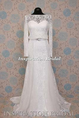 1573 White Ivory wedding dress  long sleeves embroiled French lace soft 20s 30s