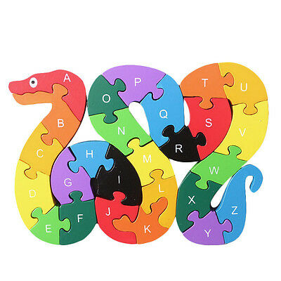 26 English Letters Toys Wooden Snake Puzzles 3D Puzzle Educational Children Toy