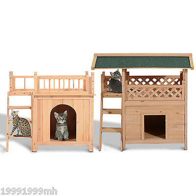 PawHut Cat House Wood Pet  Condo Lounge Small Dog Puppy  Bed Stairs Multi Size