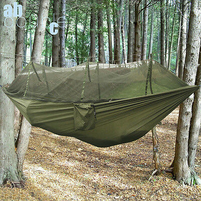Outdoor Portable Travel Jungle Camping Hammock Hanging Nylon Bed + Mosquito Net