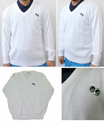 Bowls Lawn Bowling V-Neck White Brand New UK Made Jumper with Logo Mens Gents