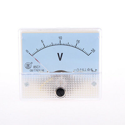 85C1 Class 2.5 Accuracy DC 0-20V White Analog Volt Panel Meter Gauge