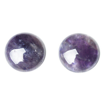 Pack of 4 x Purple Amethyst 10mm Coin-Shaped Flat-Backed Cabochon CA16682-2