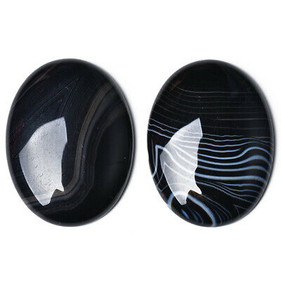 1 x Black Banded Agate 18 x 25mm Oval-Shaped Flat-Backed Cabochon CA17406-3