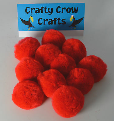 10 x LARGE RED 50mm POM POMS
