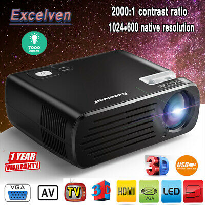 Excelvan 7000 Lumens Home Projector Portable Mini LED HD 1080P 3D HDMI for phone