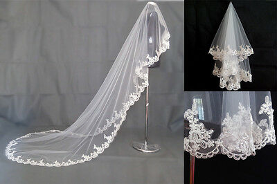 Wedding Veil With Comb Lace Appliques Tulle Bridal Veil Wedding Accessories