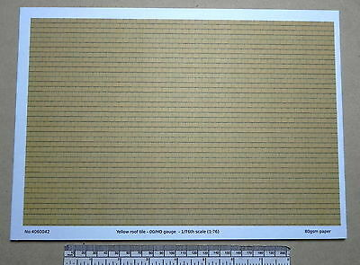 "OO/HO gauge (1:76) scale)"" yellow roof tile"" paper - A4 sheet"