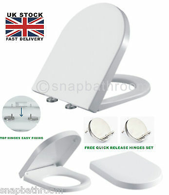 Luxury D Shape Soft Close Quick Release White Toilet Seat Top Fixing Hinges