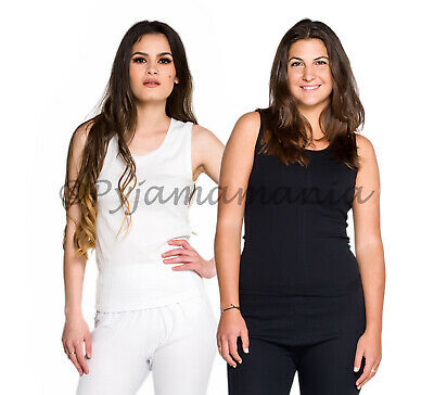 Thermals Ladies 2 Pack 100% Pure Cotton Thermal Singlet Vest White & Black