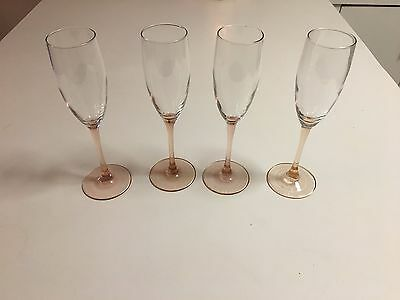 """Luminarc Rose By Chris D'arques - Champagne Flutes - France 8-3/4""""-4 Total"""