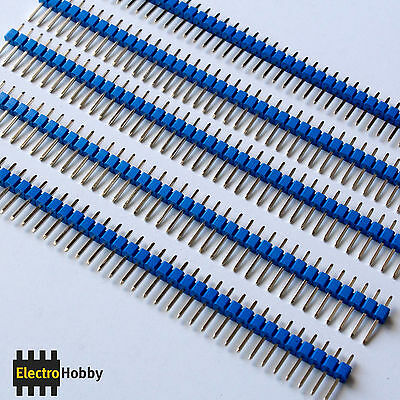 5x Tira 40 Pines Macho 2,54 mm Azul - Pin header, Row - Electronica, Arduino