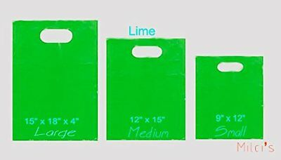 100 LIME 12 x 15 PLASTIC MERCHANDISE PARTY GIFT BAGS