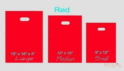 "100 12""x15"" Red Plastic Merchandise  Bags FREE SHIPPING"
