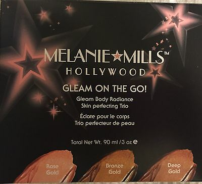 Melanie Mills Gleam on the GO- Body Face Leg Vein Rose, Bronze, Deep Gold Cream