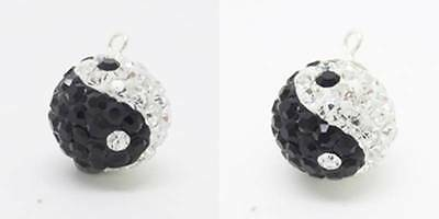 Yin Yang Symbol Crystal Ball 925 Sterling Silver Charm Pendant w Spacer or Chain