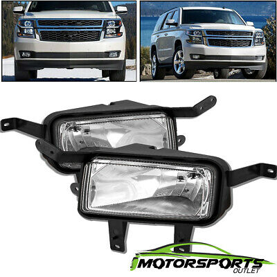 For 2015 2016 2017 2018 Chevy Suburban/Tahoe Black Bumper Fog Lights Pair