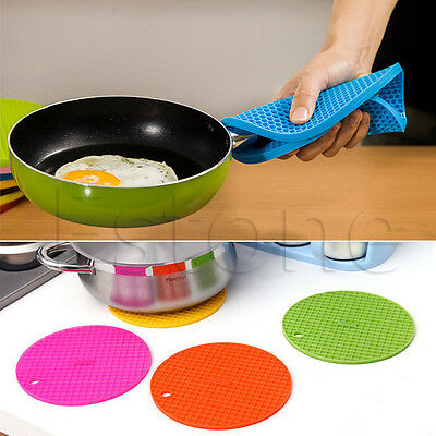 Heat Resistant Durable Silicone Table Mat Placemat Non-slip Pan Pot Holder Round