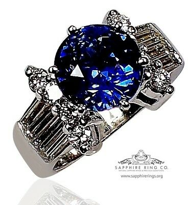 GIA Untreated 18kt W/Gold 6.46 tcw Blue Round Cut Natura Sapphire & Diamond Ring