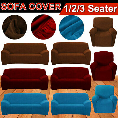 Soft Pure Stretch Sofa Couch Cover Lounge Slipcover Protector Washable Super Fit