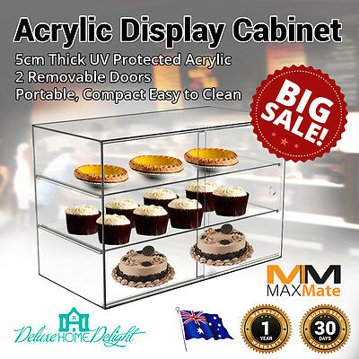 NEW Deluxe MaxMate LARGE Bakery Acrylic Display Cabinet Pastries Cakes 3+1Tiers