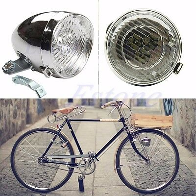 Chrome Visor Bicycle Bike Cycling 3 LED Headlight Front Tail Safety Light Lamp
