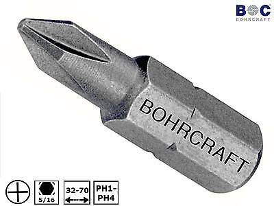 "BOHRCRAFT 5/16"" 8mm Bit PH Kreuzschlitz Phillips PH1-PH4 L32-70mm Schrauberbit"