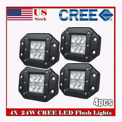 4X 3inch CREE LED Work Light Square Flood Cube Pods Offroad Jeep Ford Truck SUV