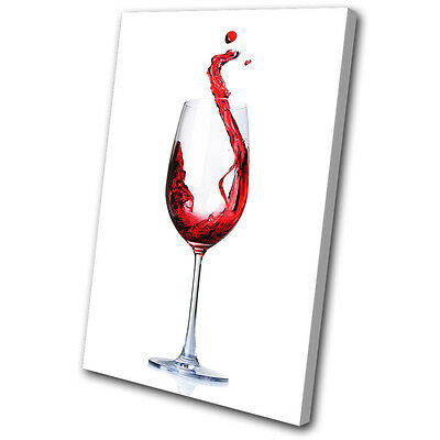 Canvas Art Print Red Wine Glass Splash Kitchen Dining Room Conceptual Abstract
