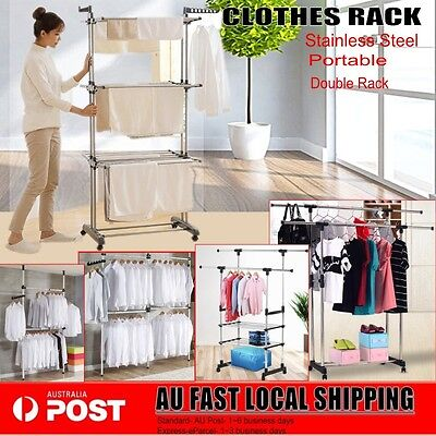 Portable Stainless Steel Double Clothes Garment Rack Hanger Cloth Shop Display