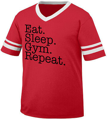 Eat Sleep Gym Repeat Train Hard Life Workout Lift Cardio Men's V-Neck Ringer Tee