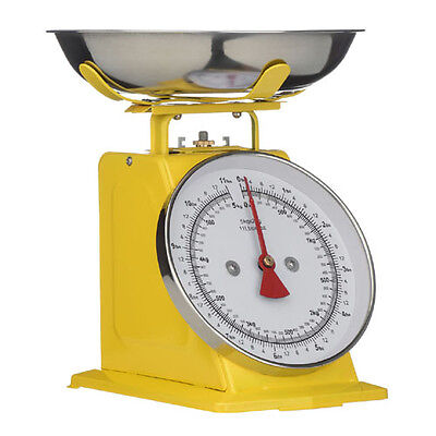 Traditional 5kg Yellow Kitchen Food Weighing Scales Stainless Steel Bowl New