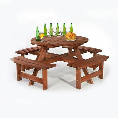 Heavy Duty Pub Quality Wooden Round 8 Seater Picnic Table – Wood Bench Seats 8