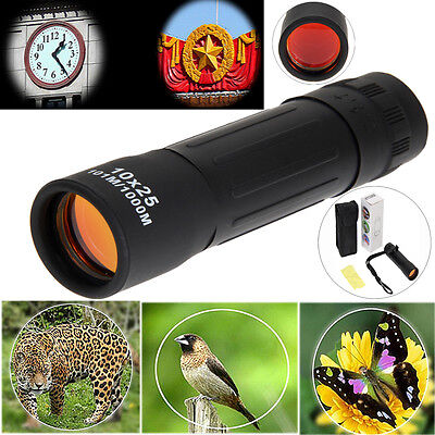 10x25 Zoomable Travel Hunting Telescope Optic Lens Night Vision Scope Monoculars