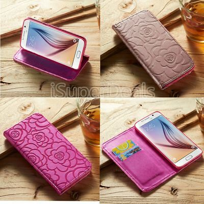 Luxury Flower Magnetic Flip Wallet Stand Case Cover For iPhone & Samsung Galaxy